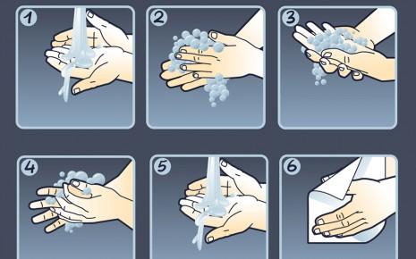Grafische Darstellung der Schritte beim Händewaschen